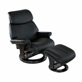 Relaxzen 60-0500 Classic, Bonded Leather Recliner with Ottoman, Black