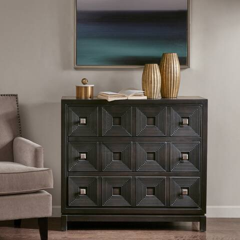 Madison Park Celest Brown Wood Accent Chest with 3 Drawers