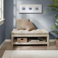 Madison Park Camino Cream Wood/Fabric Upholstered Storage Accent Bench