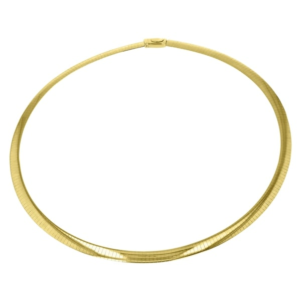 14K Yellow Gold and Sterling Silver 18-inch Italian Reversible Omega Necklace (4mm wide) - White