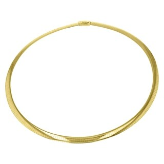 Two Tone Silver and 14K Yellow Gold 18-inch Italian Reversible Omega Necklace (4 mm wide) - White