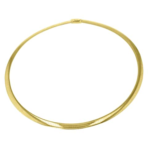 Two Tone Silver and 14K Yellow Gold 16-inch Italian Reversible Omega Necklace (4 mm wide)