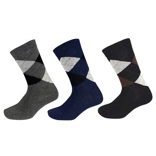Peach Couture Mens Classic Cotton Crew Argyle Socks in a Box Black-DGrey-Navy 3 Pack