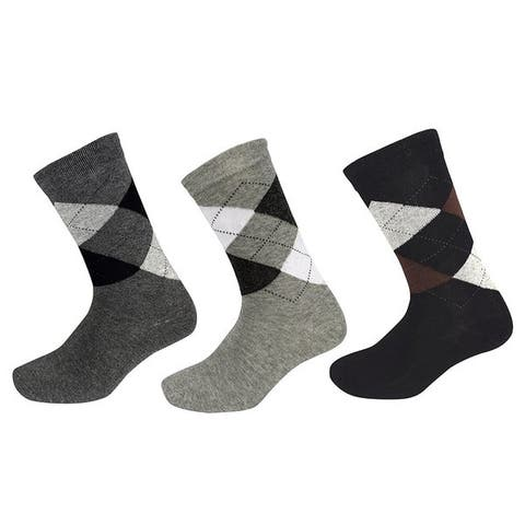 Peach Couture Mens Classic Cotton Crew Argyle Socks in a Box Black-DGrey-Grey 3 Pack