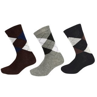Peach Couture Mens Classic Cotton Crew Argyle Socks in a Box Brown-LGrey-Black 3 Pack