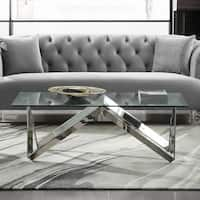 Armen Living Scarlett Coffee Table in Steel Finish with Glass Top