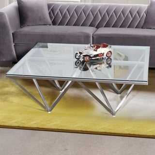 Armen Living Cascade Brushed Stainless Steel Coffee Table with Clear Glass Top