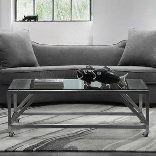 Armen Living Enessa Coffee Table in Stainless Steel and Glass Top