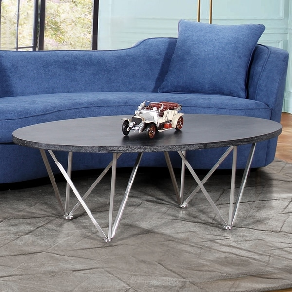 Stainless Steel And Wood Coffee Table: Shop Armen Living Emerald Coffee Table In Stainless Steel