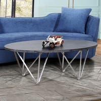 Armen Living Emerald Coffee Table in Stainless Steel and Grey Wood Top