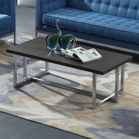 Armen Living Topaz Coffee Table in Stainless Steel with Grey Wood Top