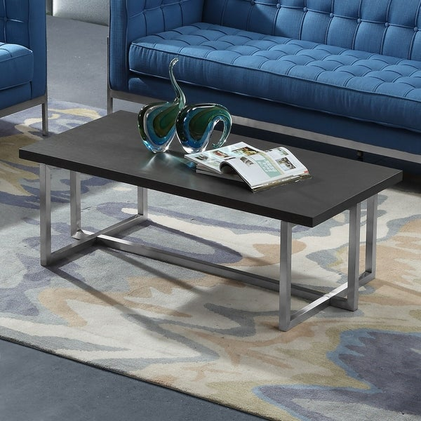 Armen Living Topaz Coffee Table In Stainless Steel With Grey Wood Top by Armen Living