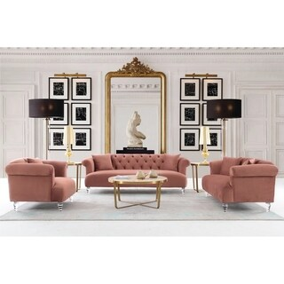 Armen Living Elegance Sofa in Grey Velvet with Acrylic Legs