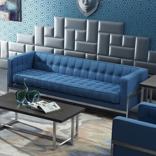 Armen Living Andre Sofa in Stainless Steel and Blue Fabric