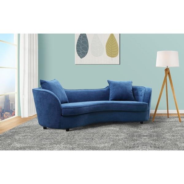 Armen Living Palisade Sofa In Blue Velvet With Brown Wood Legs