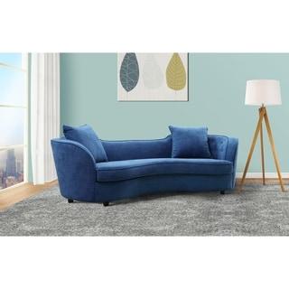 Beau Armen Living Palisade Sofa In Blue Velvet With Brown Wood Legs