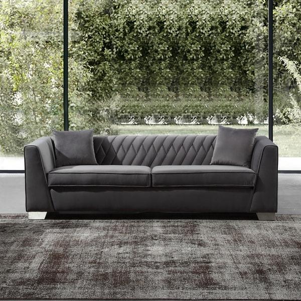 Armen Living Cambridge Sofa In Stainless Steel And Dark Grey Velvet