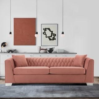 Beau Armen Living Cambridge Sofa In Stainless Steel And Dark Grey Velvet