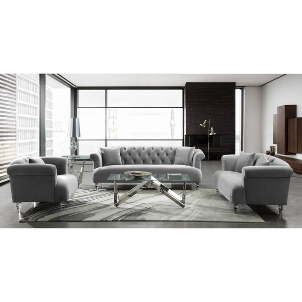Armen Living Elegance Grey Velvet/Acrylic Sofa Chair - Free Shipping Today  - Overstock.com - 25450173