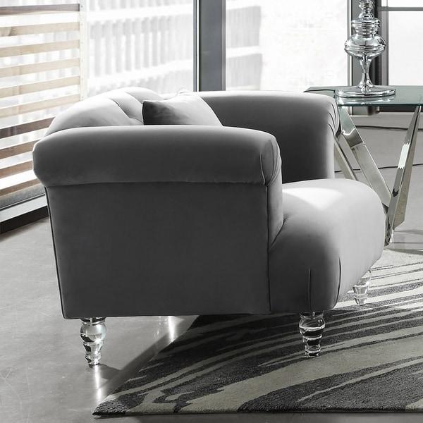 Armen Living Elegance Sofa Chair In Grey Velvet With Acrylic Legs