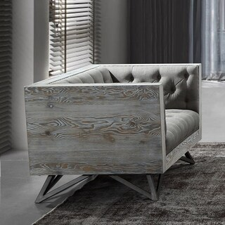Armen Living Regis Chair in Grey Fabric with Black Metal Finish Legs