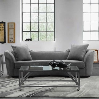 Armen Living Palisade Sofa in Grey Velvet with Brown Wood Legs