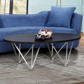 Armen Living Emerald Coffee Table Stainless Steel and Black Ash Wood