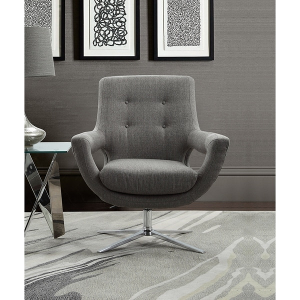 Armen Living Quinn Adjustable Swivel Accent Chair In Chrome And Grey