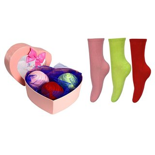 Peach Couture Womens Rose Fold Bouquet Cotton Crew Socks Red-Pink-Mint 3 Pack Heart Box
