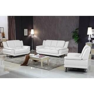 Milano Leather Sofa Set (White)