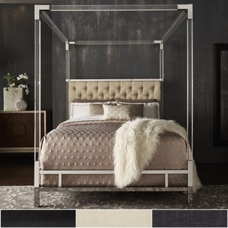 Reid Acrylic and Chrome Canopy Bed with Tufted Headboard by iNSPIRE Q Bold (More options available)