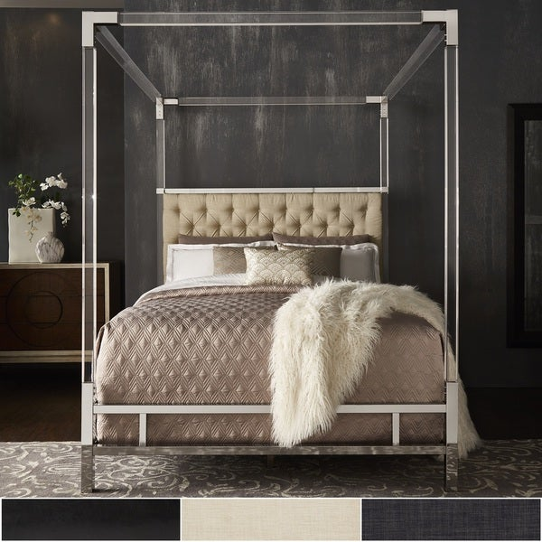 Shop Reid Acrylic And Chrome Canopy Bed With Tufted