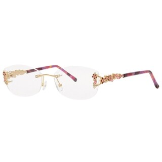 Caviar Rimless 4873 C57 Womens Gold Pink Crystals Frame Eyeglasses (Option: Pink)