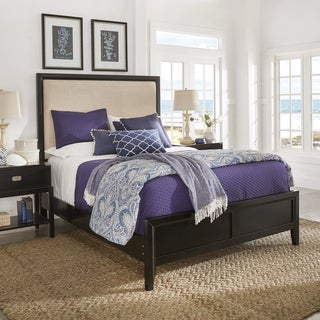Lonny Beige Linen and Black Wood Panel Bed by iNSPIRE Q Classic