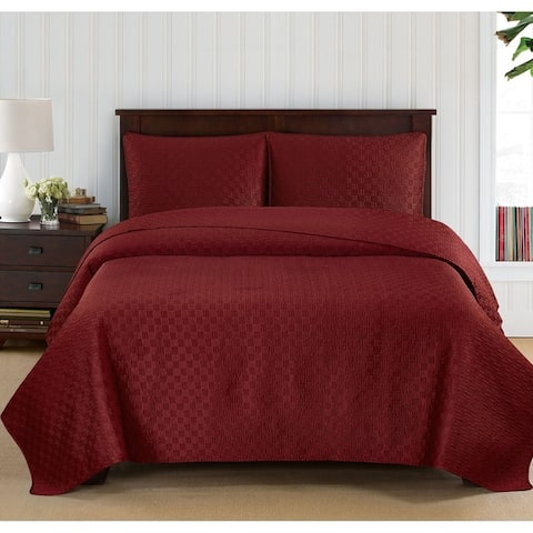 Brielle Embroidered Basket Weave Quilt Set