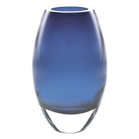 "Radiant Mouth Blown Layered Glass Midnight Blue 9"" Vase"