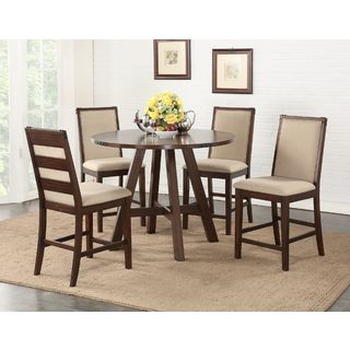 Eden Prairie Maple 5-piece Counter-height Dining Set with Cream Fabric Upholstery