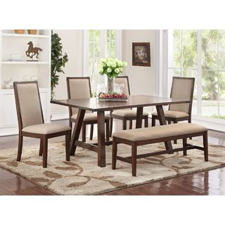 Eden Prairie Brown 6 Piece Dining Set With Cream Colored Seating