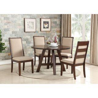 Eden Prairie Cream/Brown Wood/Fabric 5-piece Dining Set