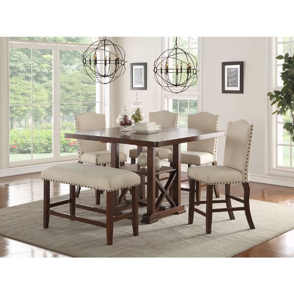 Cressida Brown 6 Piece Counter Height Dining Set With Cream Fabric Seating