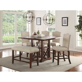 Merveilleux Cressida Brown 6 Piece Counter Height Dining Set With Cream Fabric Seating