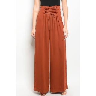 JED Women's Smocked High Waist Wide Leg Casual Pants