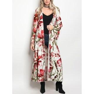 JED Women's Crushed Velvet Fabric Floral Maxi Kimono Cardigan