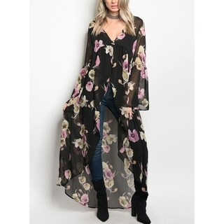 JED Women's Chiffon Bell Sleeve Floral Maxi Kimono Top