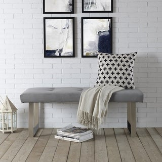 Link to Gene Velvet Button Tufted Bench w Chrome or Goldtone Legs Similar Items in Living Room Furniture