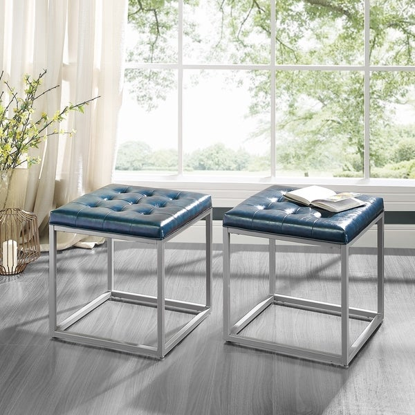 Ideal Halley PU Leather Tufted Cube Ottoman w Metal Frame By Inspired  MI02