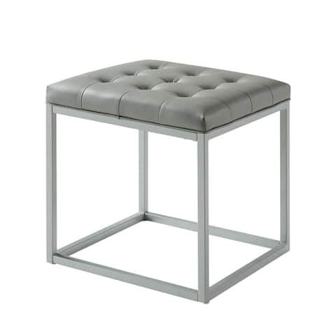Halley PU Leather Tufted Cube Ottoman with Metal Frame