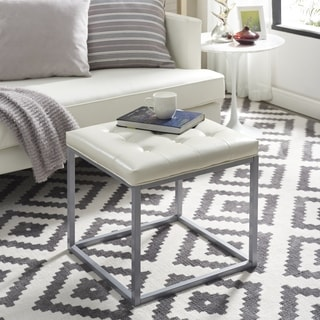 Halley PU Leather Tufted Cube Ottoman w Metal Frame  By Inspired Home