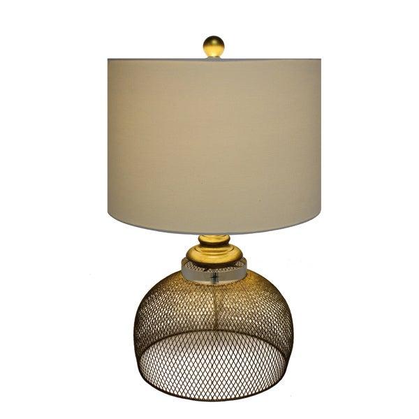 Urban Designs Eugenia Golden Metal Cage Table Lamp