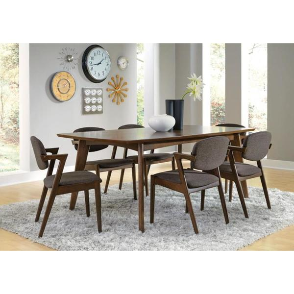 Ludweig Walnut Wood 8-piece Dining Set with Fabric Upholstery